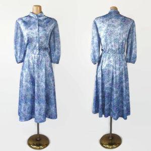 Vintage 70s Sheer Sleeve Fit & Flare Dress sz 18